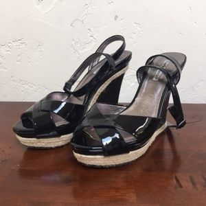 Charles David Blk Patent Leather Wedges Heels 8.5